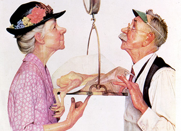Norman Rockwell Balance Scale Painting Butcher