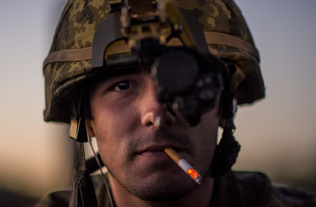 Pvt. Charles Lemieux, 2nd Division, Canadian Army Reserve soldier, poses for a photo while wearing his night optical device for a light machine gun night fire event during the 2015 Canadian Armed Forces Small Arms Concentration at the Connaught Range outside of Ottawa, Canada, Sept. 14. The marksmanship competition brought in more than 250 total competitors from the British, Canadian and U.S. armed forces competing in more than 50 matches involving rifle, pistol and light machine gun events using various combat-like movements and scenarios.