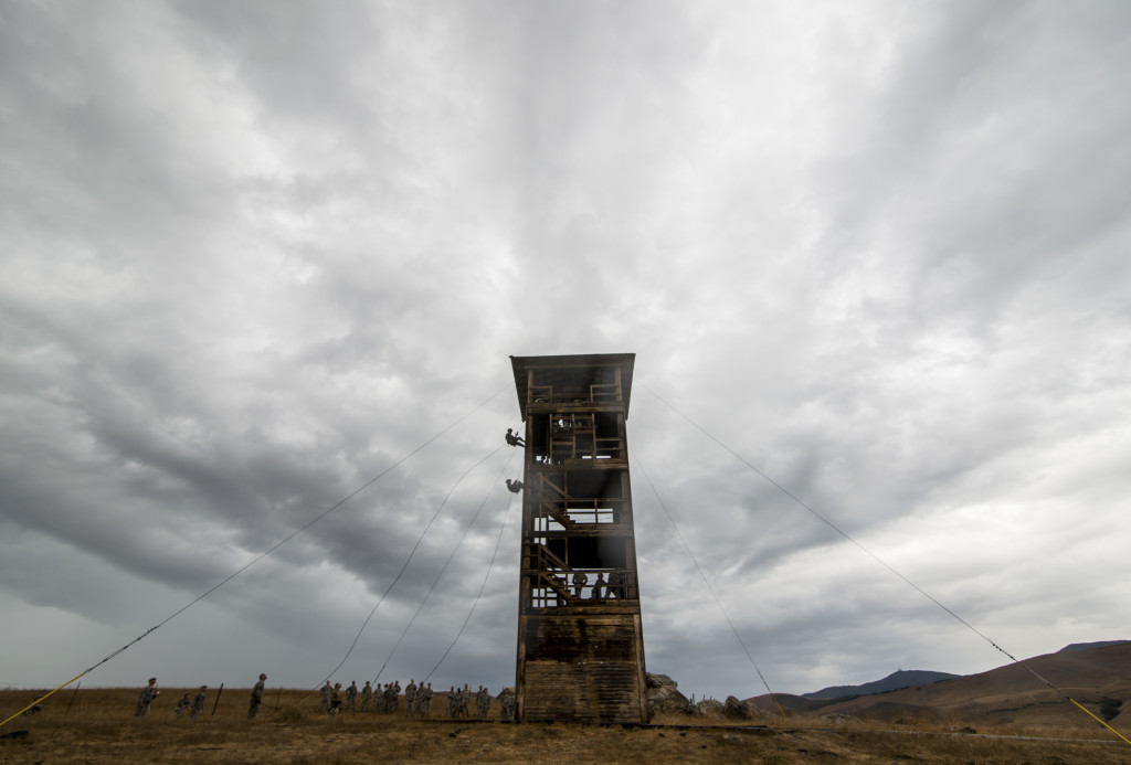 "U.S. Army Reserve combat engineer Soldiers from the 374th Engineer Company (Sapper), headquartered in Concord, Calif., conduct a rappel training from a 100-foot tower, July 19, during a two-week field exercise known as a Sapper Leader Course Prerequisite Training at Camp San Luis Obispo Military Installation, Calif. The class was taught by three rappel masters from a Special Operations Response Team for the U.S. Department of Justice. The combat engineer company is grading its Soldiers on various events to determine which ones will earn a spot on a ""merit list"" to attend the Sapper Leader Course at Fort Leonard Wood, Mo. (U.S. Army photo by Master Sgt. Michel Sauret)"