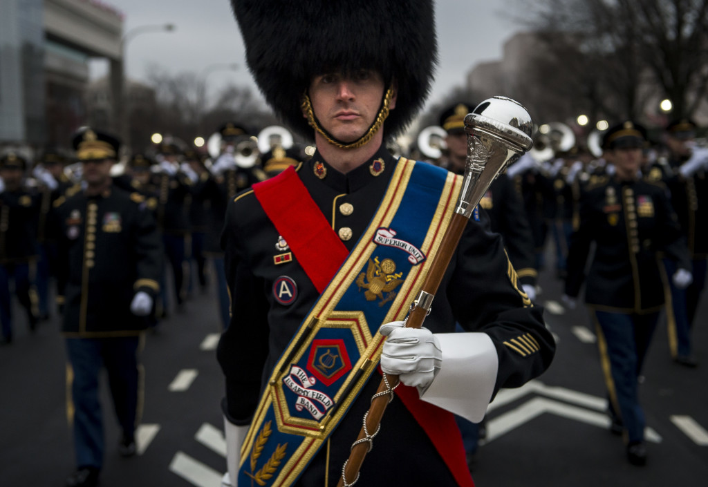 The drum major for the U.S. Army Field Band leads his formation during the 58th Presidential Inauguration Parade in Washington, D.C., on Jan. 20. The parade route stretched approximately 1.5 miles along Pennsylvania Avenue from the U.S. Capitol to the White House. (U.S. Army Reserve photo by Master Sgt. Michel Sauret)