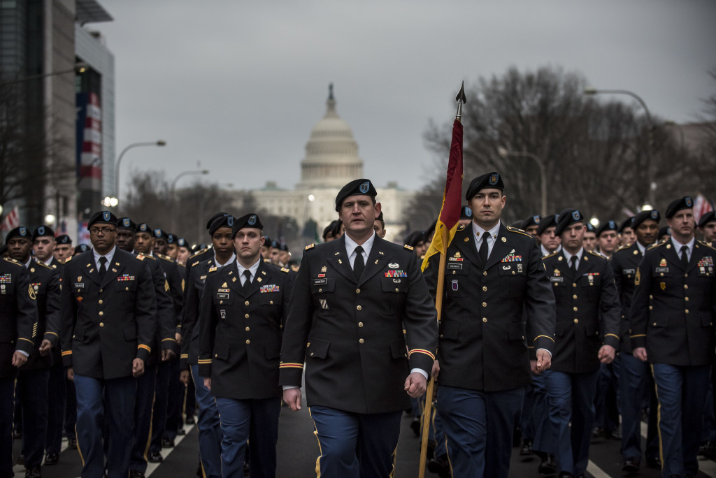 U.S. Army Reserve Soldiers from the 3rd Transportation Brigade (Expeditionary) march during the 58th Presidential Inauguration Parade in Washington, D.C., on Jan. 20. The parade route stretched approximately 1.5 miles along Pennsylvania Avenue from the U.S. Capitol to the White House. (U.S. Army Reserve photo by Master Sgt. Michel Sauret)
