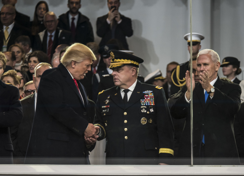 U.S. President Donald Trump shakes hands with Gen. Mark Milley, chief of staff of the Army during the 58th Presidential Inauguration Parade in Washington, D.C., on Jan. 20. The parade route stretched approximately 1.5 miles along Pennsylvania Avenue from the U.S. Capitol to the White House. (U.S. Army Reserve photo by Master Sgt. Michel Sauret)
